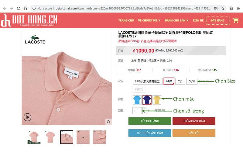 Chọn các thông số và cho vào giỏ hàng của iChina Company